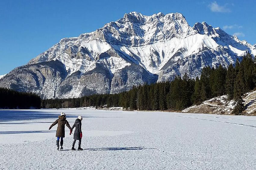 Skating on Johnson Lake in Banff